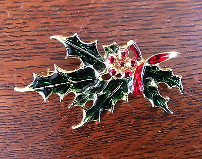 Vintage Enamel Holly And Berry Pin