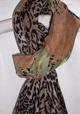 Womens Green Taupe Scarf Black Leopard Flowers  Scarves Shawl Wrap Ladies