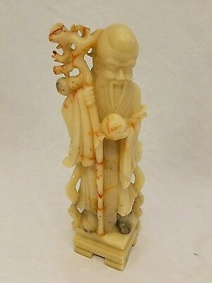 Vintage Chinese Soapstone Carving Immortal Deity Male Figure Carved Stone Statue