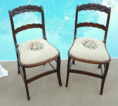 (2) Antique Chairs Carved Rails Floral Embroidered Upholstery Seat Matching Pair