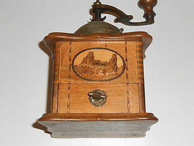 Antique Wood Dovetailed.Hand Crank Coffee Grinder. Vintage Marquetry Wood
