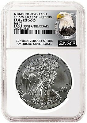 PRESALE - 2016-W Burnished American Silver Eagle - NGC MS70 - Early Releases Eag