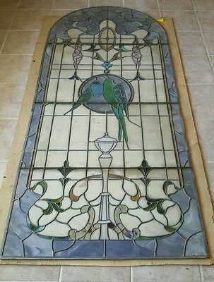 Huge Stained Glass Window or Door 1940's Almost 7 feet tall!! 3 feet wide Parrot