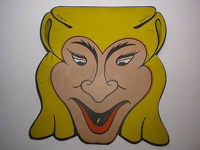 1940's BLONDE WITCH MASK DIE CUT THICK PAPER HALLOWEEN WITCH MASK UNUSUAL UNUSED