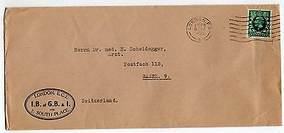 GB = 1935 Long Cover `2, SOUTH PLACE, LONDON` to Switzerland. Solicitor`s.