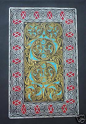 BRASS RUBBING, CELTIC SCROLL,HISTORIC WALL ART, design from Book of Durrow, 7thC