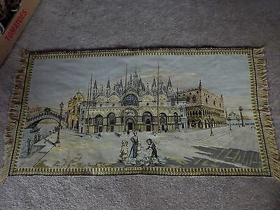 """Large 25""""x48"""" Tapestry Venezia Venice vintage made in italy wall hanging /runner"""
