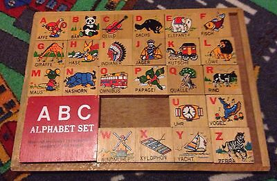 Vintage Wooden ABC Alphabet Puzzle Set From Germany Double-Sided