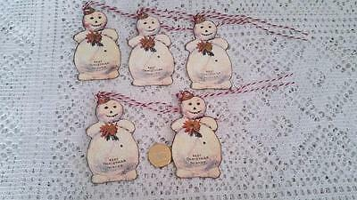 Christmas~Vintage~Snowman~Glitter~Bling~Sparkly~Linen Cardstock~Gift~Hang~Tags