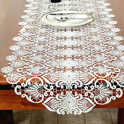Lace Embroidered Table Runner White Hollow Out Table Cloth Home Decoration New