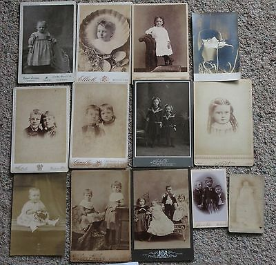 Antique Vintage Lot of 13 Photo Cabinet Cards Children Baby # 8