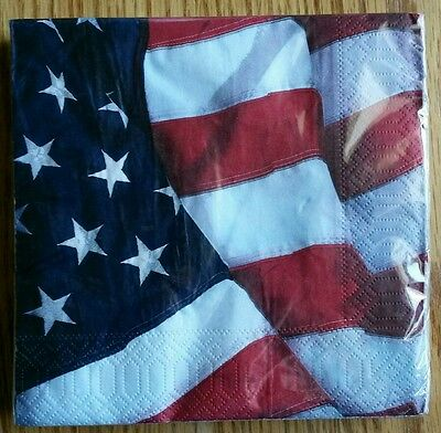 """20 ct 2 ply Paper Party Lunch Napkins 13"""" ~ Red White & Bue Flag Patriotic"""