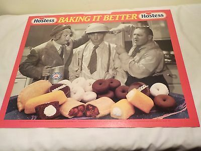 1990 Continental Hostess Cakes donuts 3 Three Stooges Advertisement Cardboard