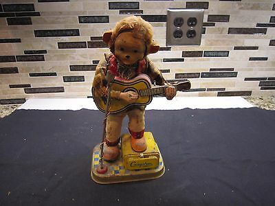 Cragston Bttery Operated Tin Toy Monkey Playing Guitar W/ Microphone Japan