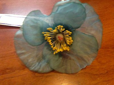 "Vintage Millinery Flower Hat Open Poppy Sea Blue Slate Trim for Hat 3"" NS"