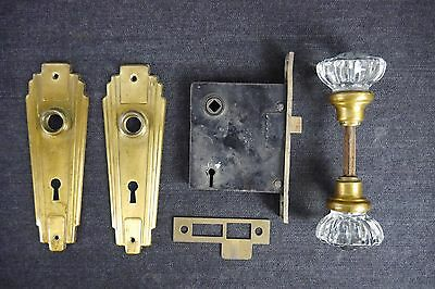 Antique Vintage Box-Mortise Lockset & Glass Doorknobs Art Deco Style (SH1)