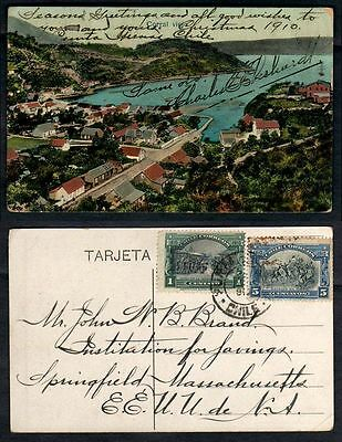 1910 Chile Punta Arenas To Massachusetts Conmemorative Postage Early Postcard
