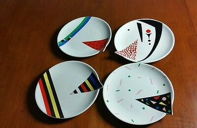 "Fujimori Japan Kato Kogei Alpha 4 Salad Plate 7 5/8"" Multi-Color Abstract Design"