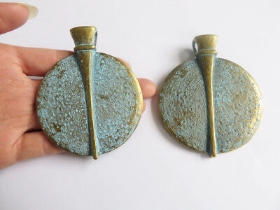 Large Antique Greek Bronze Round Uneven Shading Charm Pendant For DIY Fittings