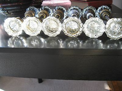 Lot of 12 Antique Vintage Matching 12 Point Crystal Glass Door Knob Sets