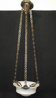 Unique Vintage Hanging 3 Socket, 3 Chain Fixture. Clamp On Chain Mounting