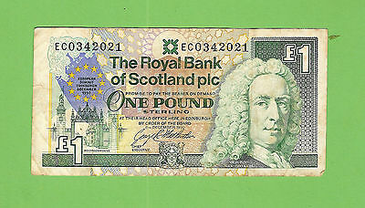 #d235.  Bank  Of  Scotland 1   Pound   Circulated   Banknote #ec 0342021