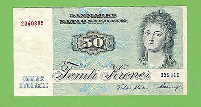 #d235.  Denmark  50 Kroner    Circulated   1972  Banknote