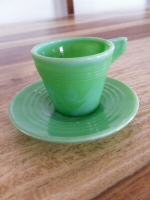 Vtg Jadite green Akro Child Cup and Saucer toy dish set