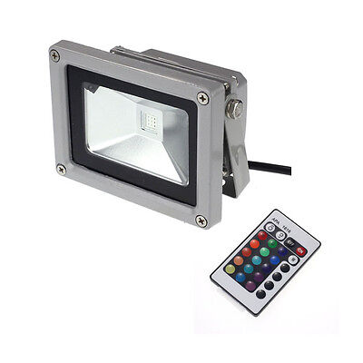 10W RGB LED Flood Light Outdoor Landscape Lamp + 24 Remote Control Y2