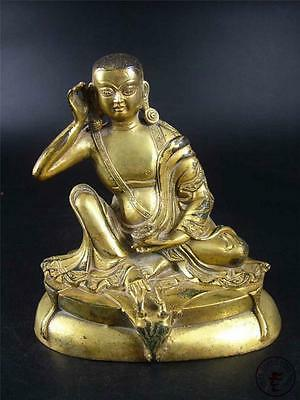 Very Large Antique Old Chinese Tibet Gilt Bronze Tibetan Buddha Statue Qing Dy.