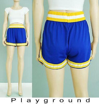 Vintage 70's blue yellow sporty gym runners shorts s