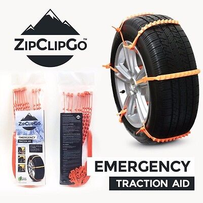 ZipClipGo Emergency Traction Aid Tire Chains for Ice Snow Mud Cars Trucks SUVs
