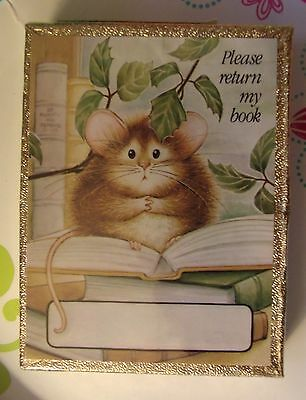 """Vintage Antioch BookPlates 30 Gummed Mouse """"Please Return My Book"""" Sealed Box"""