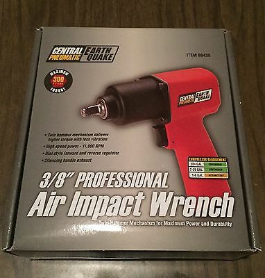"""EarthQuake Central Pneumatic 3/8"""" Professional Air Impact Wrench 68425 Red"""