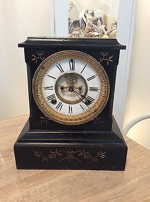 Ansonia Cast Iron  Mantle Clock With Key  Pendulum Working Order Porcelain Dial