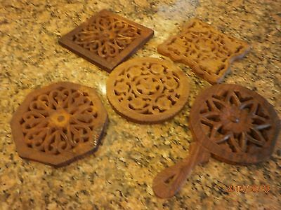 5 Hand Carved Wooden Trivets