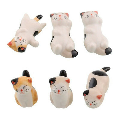 Set Of 6 Japanese Ceramic Lucky Cat Chopsticks Spoon Fork Holder Stand Rack