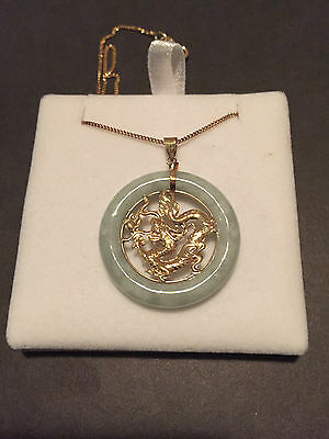 9ct Yellow Gold Jade with Dragon Centre Necklace