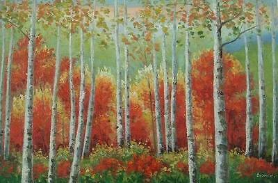 24X36 inch Landscape Art Oil Painting Forest In Autumn