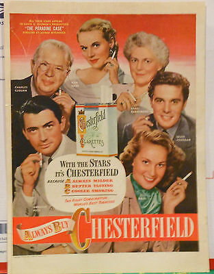 Vintage 1948 magazine ad for Chesterfield cigarettes - The Paradine Case actors