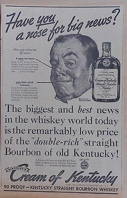 1936 newspaper ad for Cream of Kentucky Bourbon -N. Rockwell art, Nose for News