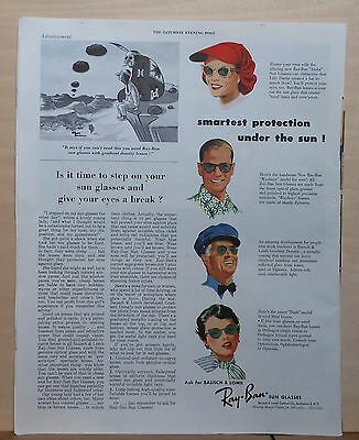 1953 magazine ad for Ray-Ban Sunglasses - 4 types, Give your eyes a break