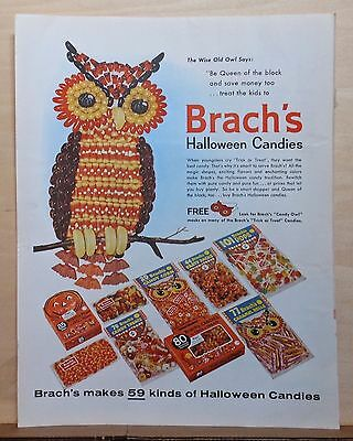 1960 magazine ad for Brach's Candy - Halloween ad, Wise old owl made of candies