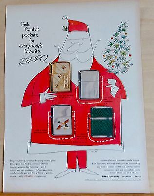 1954 magazine ad for Zippo Lighters - Santa & 4 different lighters, Christmas ad