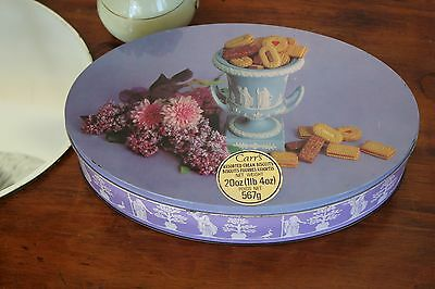Vintage Oval Carr's Biscuit Tin Wedgwood Urn Lavender Lilac Chrysanthemums