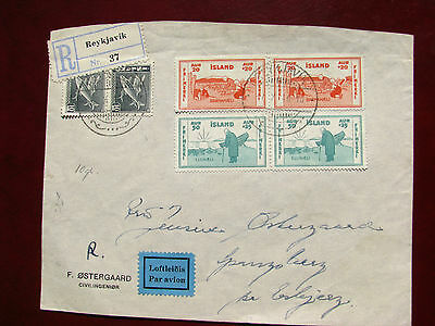 Iceland  Reg Airmail Cover