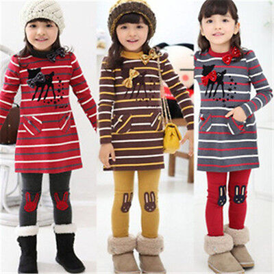 Newest Baby Girls Sets Fashion Cartoon Long Sleeve Bow Tops + Pants Kids Clothes