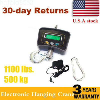 500 KG/1100 LBS Electronic Digital Portable Hook Hanging Crane Scale LCD US SALE