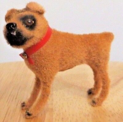 """Vintage Flocked Brown Fuzzy BOXER DOG Wagner Handwork W Germany 2 1/2"""" tall"""