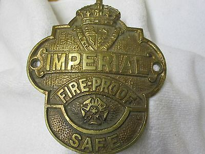 Large Antique Brass `imperial Fireproof Safe` Plaque.